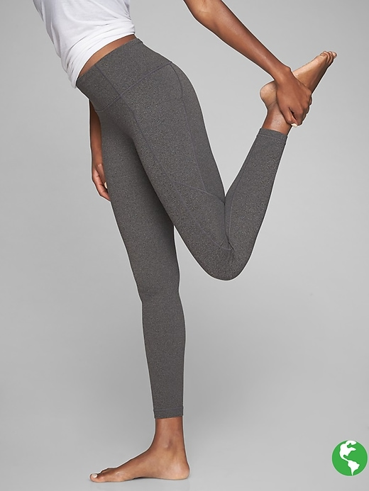 Athleta Stash Pocket Salutation Tights Black Heather