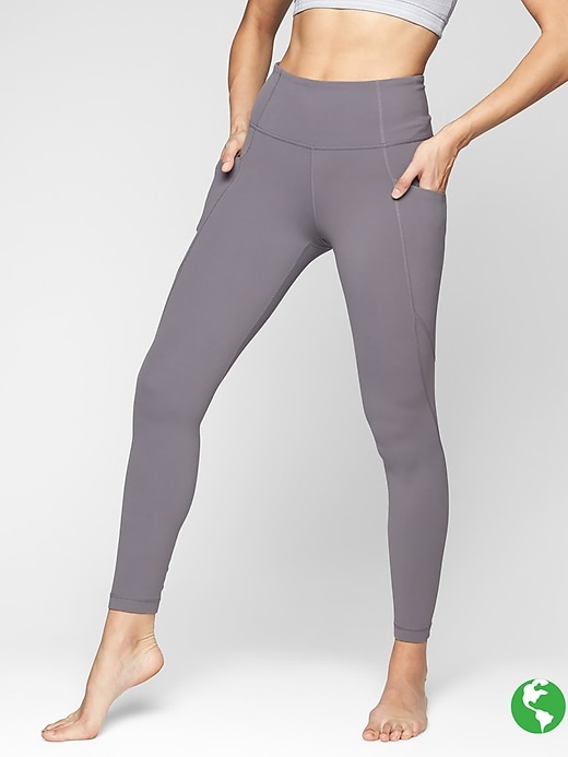Athleta Stash Pocket Salutation Tights Silver Bells