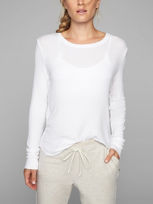 Athleta Womens Revive Long Sleeve Bright White Size XL
