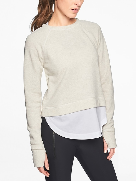 Athleta Womens Roamer Sweatshirt Toasted Brown Heather/ White Size XS