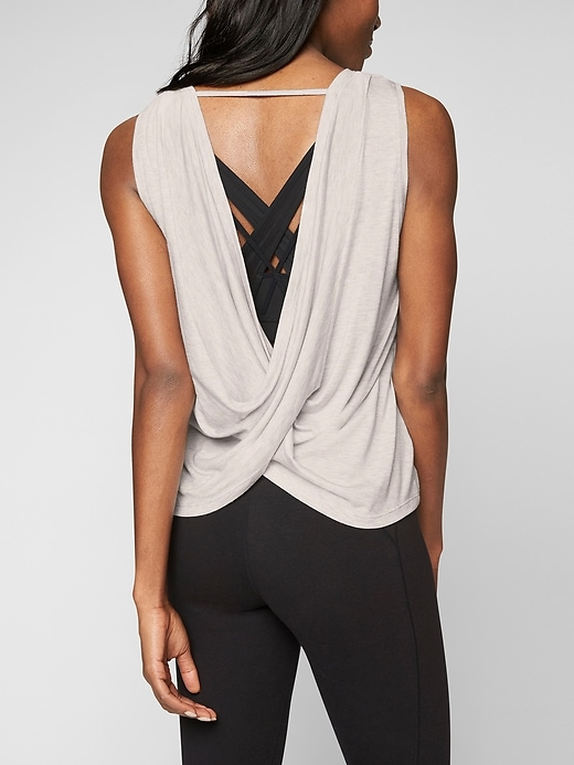 Athleta Womens Revive Drape Tank Toasted Brown Heather Size L