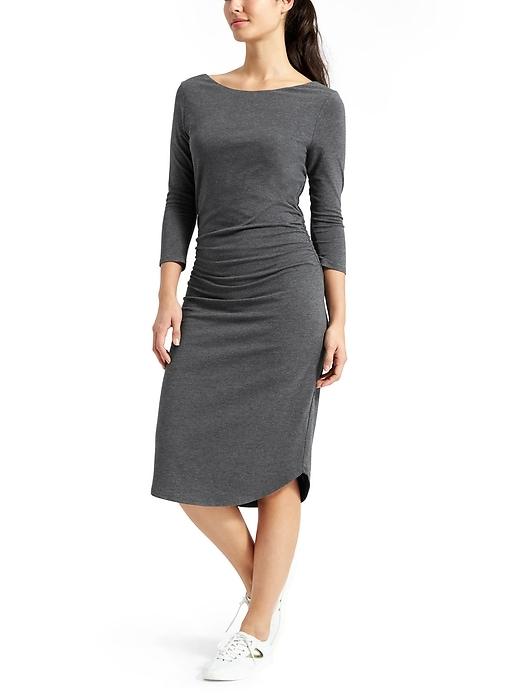 Athleta Womens Scoop Midi Dress Charcoal Heather Size XXS