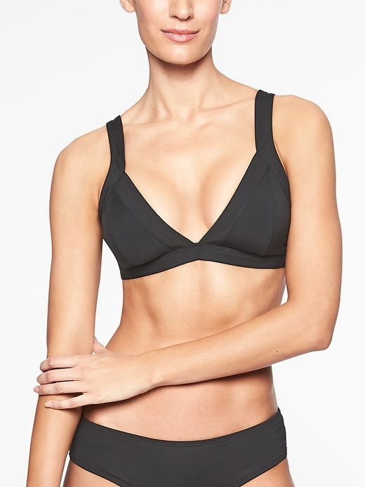 Athleta Womens Clean Strap Bikini 2.0 Top Black Size XL