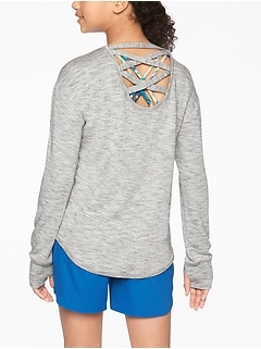 Athleta Girl Criss Cross Back Sweatshirt