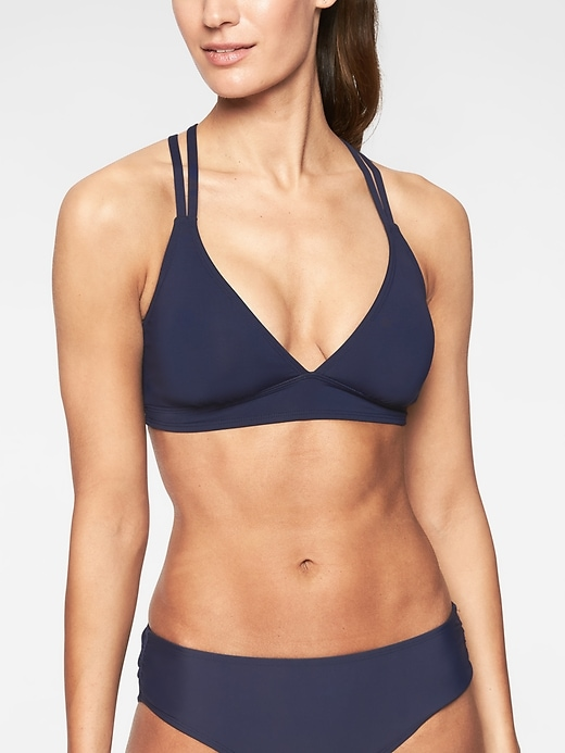 Athleta Womens Cross Strap Bikini Top Dress Blue Size XL
