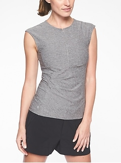 Pacifica Wrap Front Heather Tank
