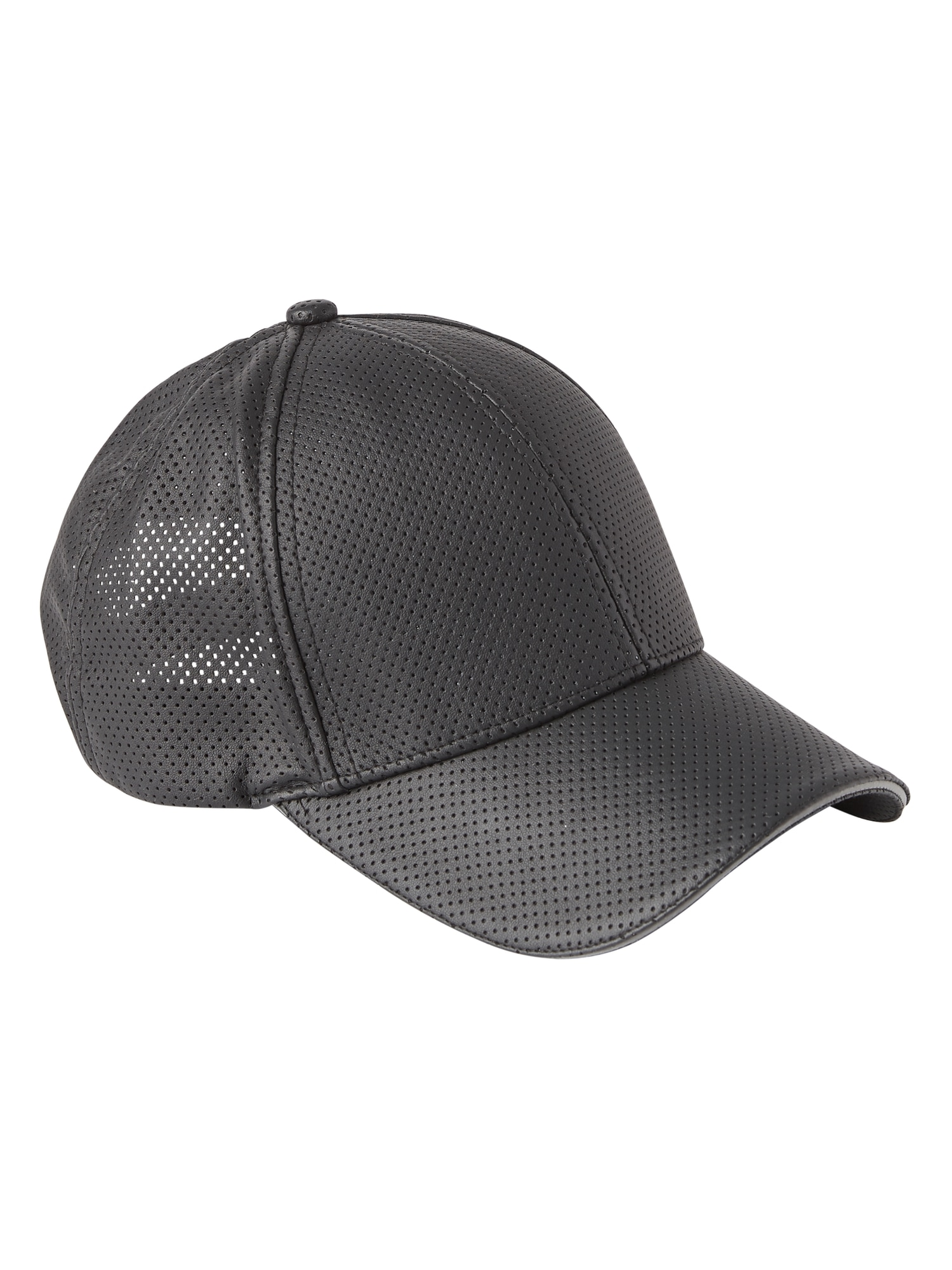 Perforated Faux Leather Baseball Cap  16722f82a4d