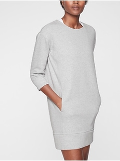 Cozy Karma Back Zip Sweatshirt Dress