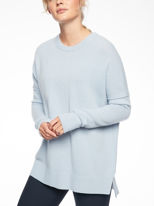 Athleta Womens Perspective Wool Cashmere Crew Zen Blue Size XS