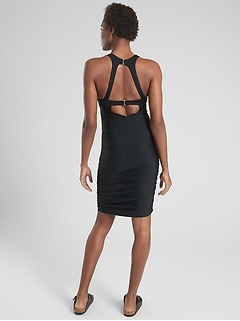 High Neck Ruched Swim Dress