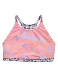 Athleta Girl Reversible Ice Pink Camo Bikini Top