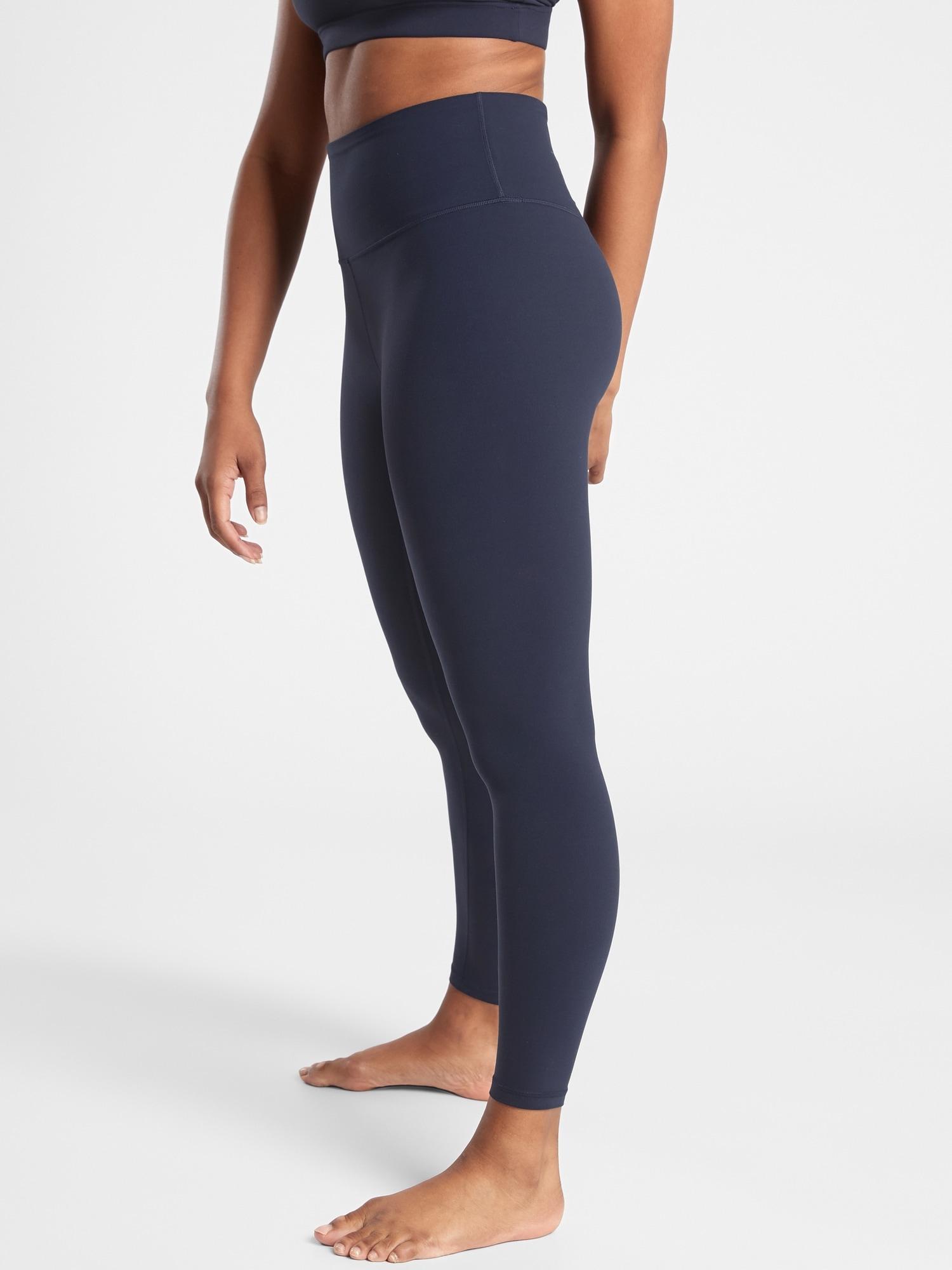 ATHLETA L Elation Ultra High Rise Shimmer Tight Leggings LARGE Black Shiny Yoga
